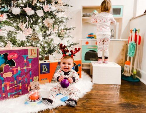 Two kids on Christmas.