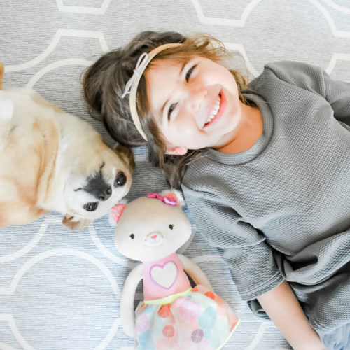 Smiling girl with dog and plush cat.