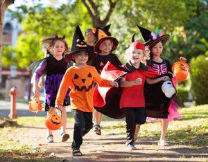 Kids on Halloween.