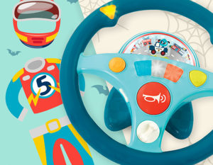 Toy steering wheel with an illustrated race car driver costume.