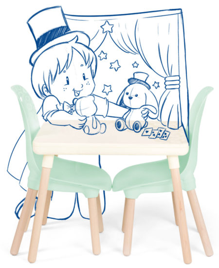 Kids table and chair set with sketch of girl in a hat playing with stuffed animals.