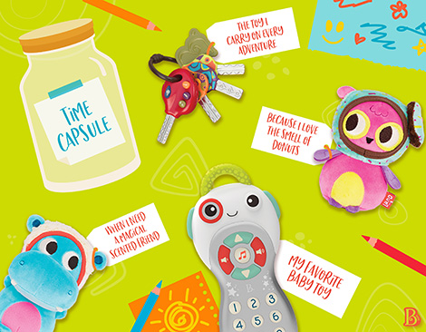 Toys and time capsule graphic.