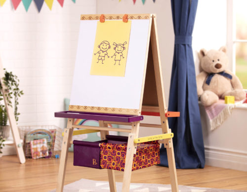 Easel for kids with drawing.