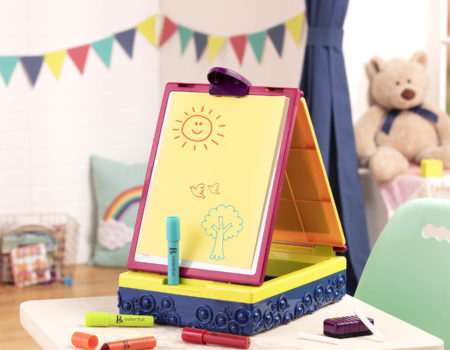 Tabletop easel with drawing.