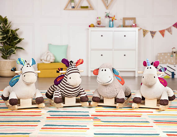 Four different rocking horse toys.