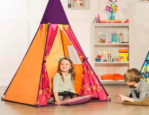 Girl in a play tent.