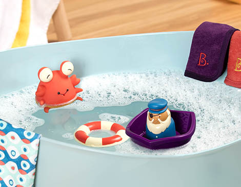 Bath toys in water.