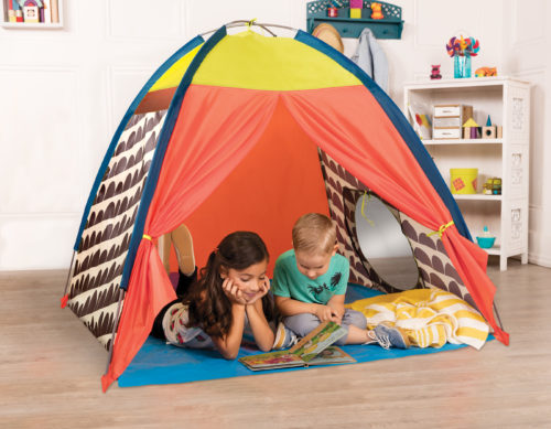 Two kids in a play tent.