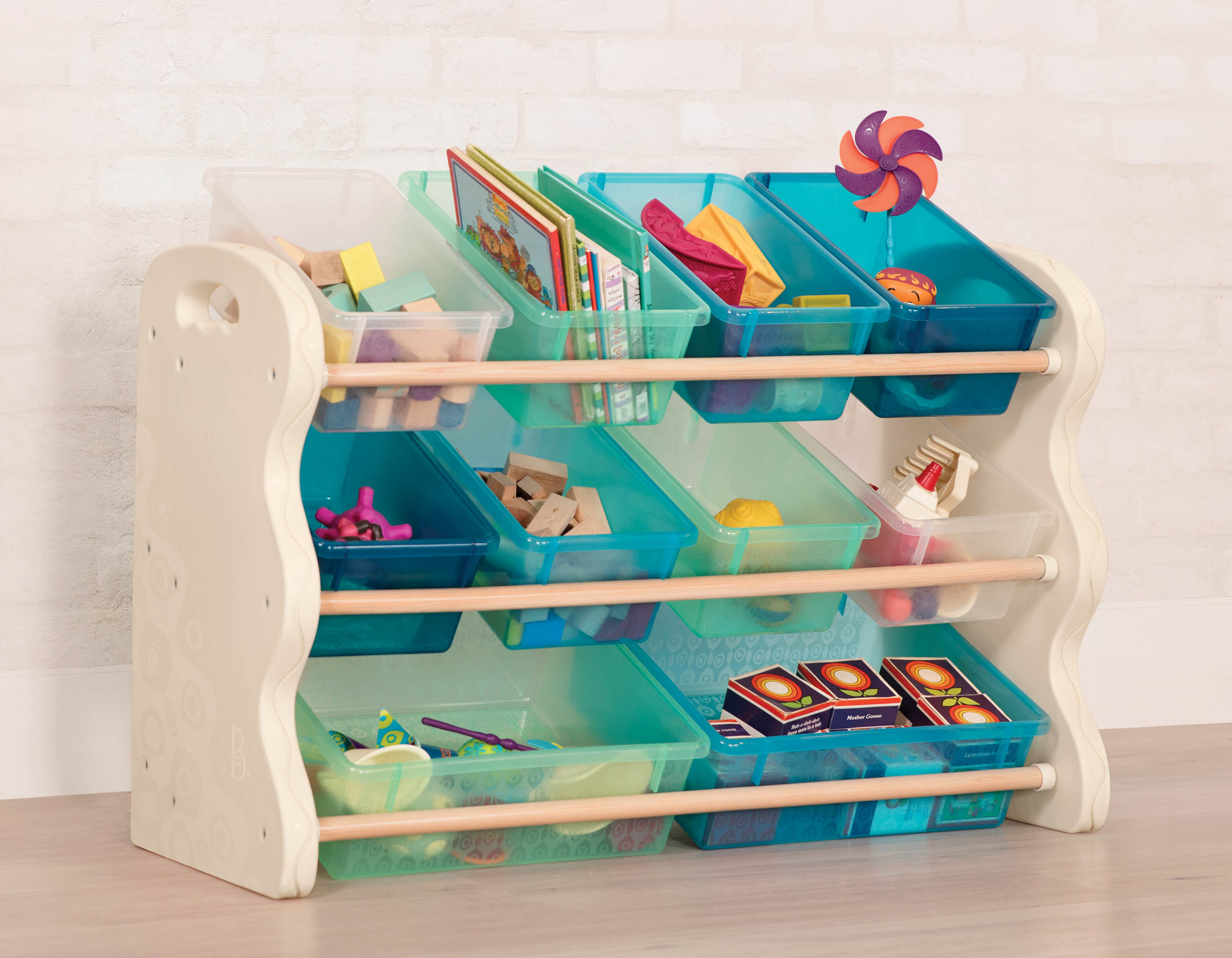 Kids storage unit with toys and books.
