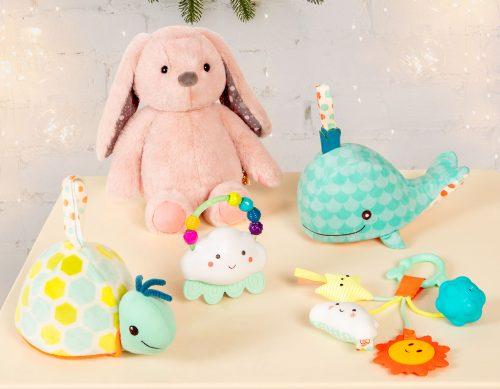 Assortment of baby toys.