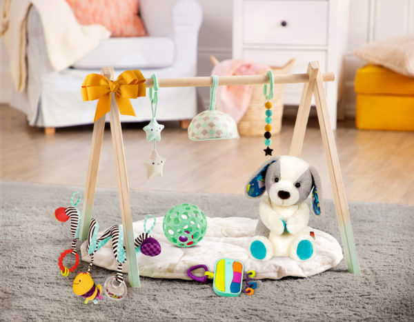 Assortment of baby toys in a room.