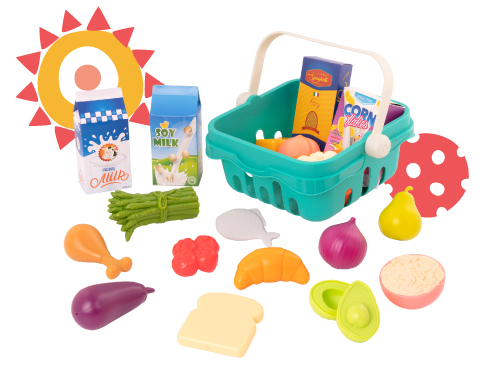 Play food and basket.