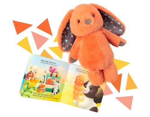 Plush bunny with board book.