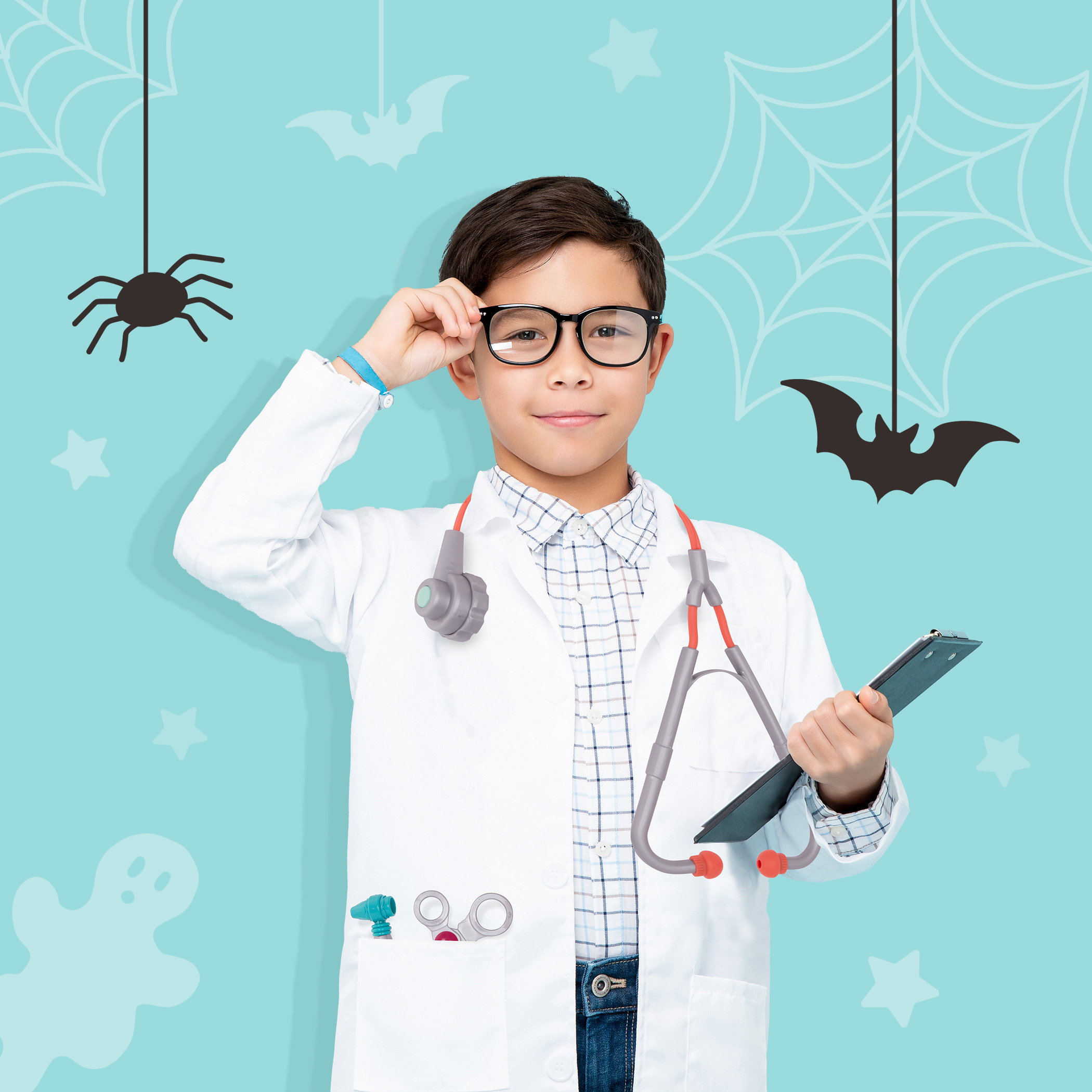 Boy in doctor costume.