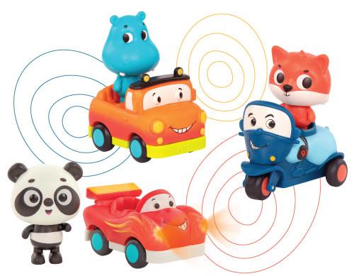 Mini cars and characters.