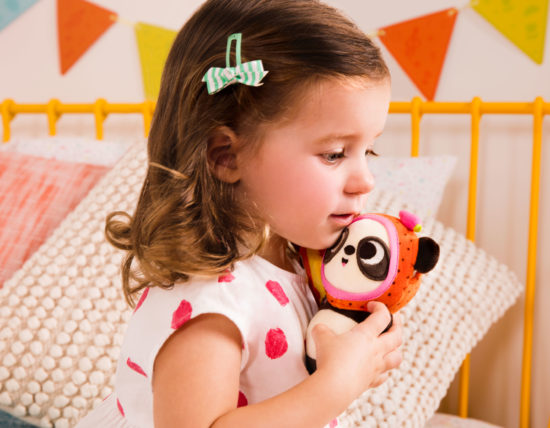 Girl with plush panda.