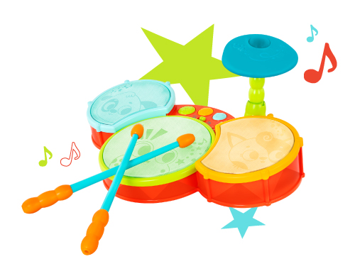 Toy drum set.